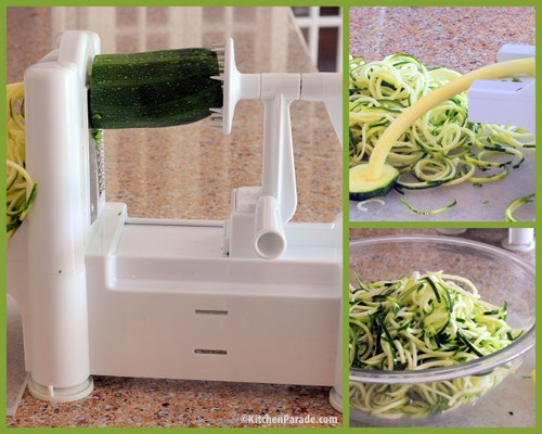 Making zucchini noodles with a spiralizer. Recipe, tips, nutrition, WW points ♥ KitchenParade.com.