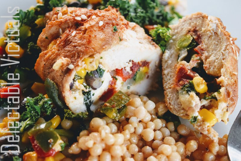 Kale and Southwest Veggies Stuffed Chicken Breasts with Israeli Cous Cous ptitim