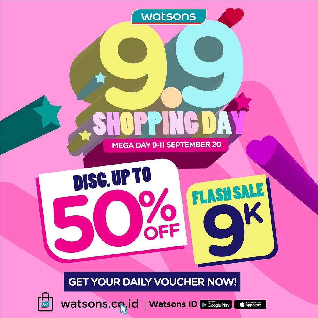 Watsons Promo 9.9 Shopping Day Disc Up To 50% Off Mega Day 9 - 11 September 2020