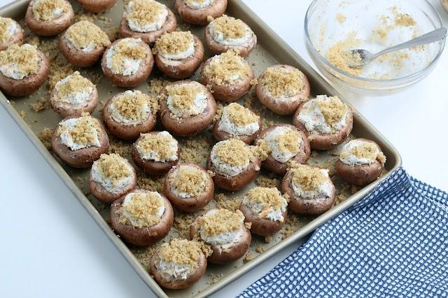 Cheesy Garlic Stuffed Mushrooms unbaked on sheet pan