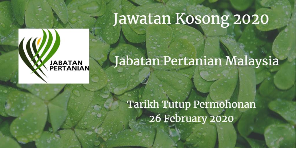Jawatan Kosong Jabatan Pertanian Malaysia 26 February 2020