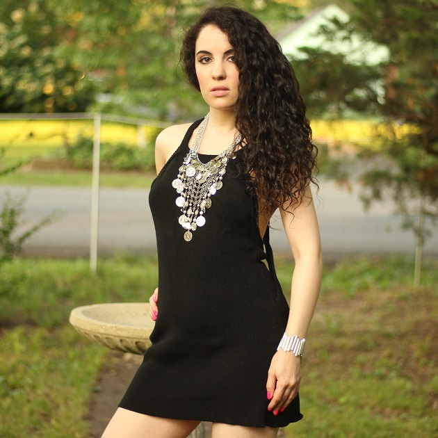 Sleeveless Black Sweater Dress