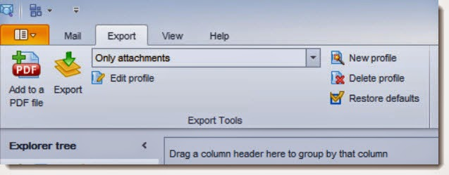 "Image is a screenshot of the Export tab in EmlViewer Pro, with ""Only Attachments"" selected."