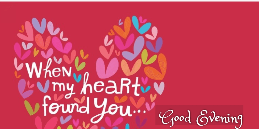 hd heart image with love quote of good evening