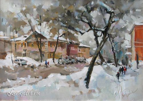 Зима на Ильинке, виды Нижнего Новгорода, живопись