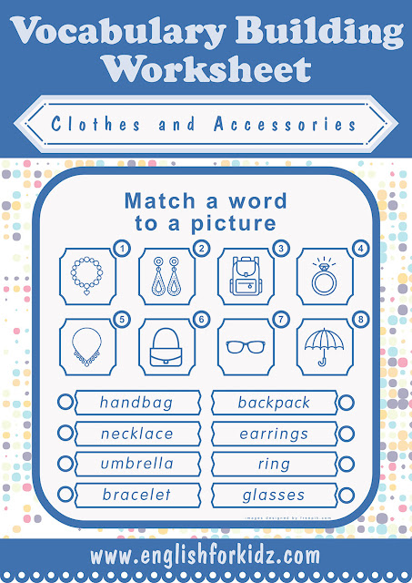 Clothes and accessories ESL printable exercise worksheet
