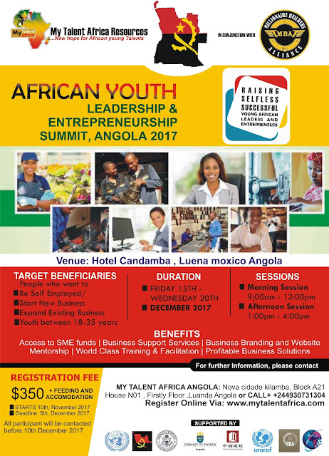 ATTEND AFRICAN YOUTH LEADERSHIP & ENTREPRENEURSHIP SUMMIT ANGOLA 2017
