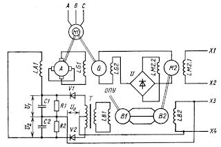 Принципиальная схема следящего рулевого привода