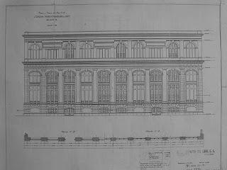 Plano con el alzado de la fachada sur del Transformador