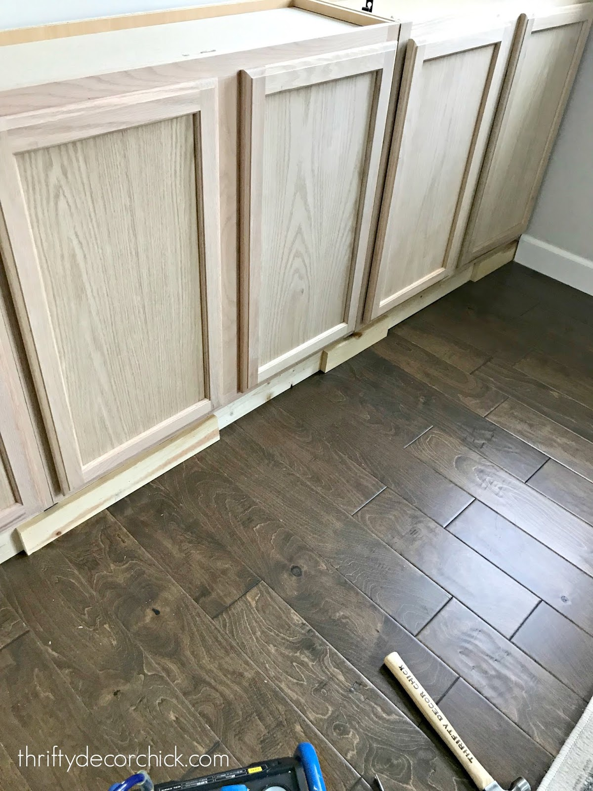 Adding baseboards to DIY built ins