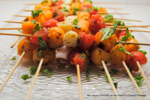 Basil Melon Skewers at Miz Helen's Country Cottage