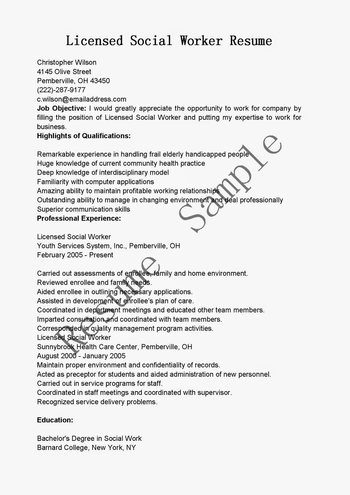 Social Worker Resume Examples Resume Samples Licensed Social Worker Resume Sample
