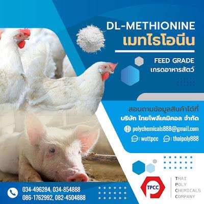 เมทไธโอนีน, Methionine, ดีแอล-เมทไธโอนีน, DL-Methionine, DL-Met, เกรดอาหารสัตว์, Feed Grade