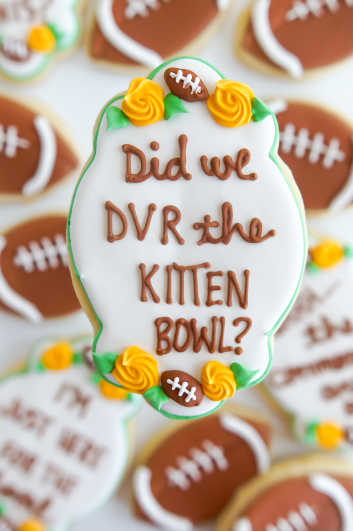 kitten bowl super bowl decorated cookies