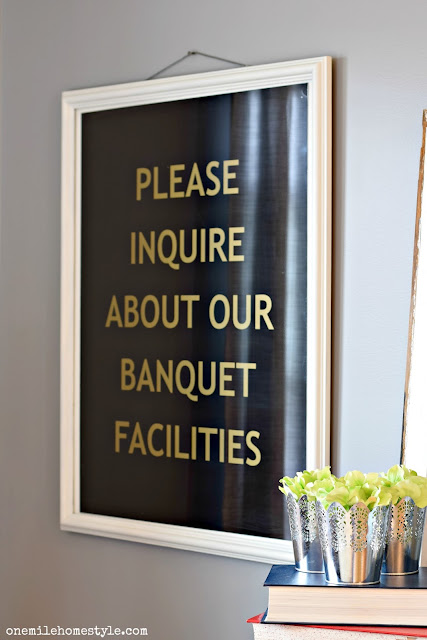 Please Inquire About Our Banquet Facilities Black and Gold Kitchen Wall Art - One Mile Home Style