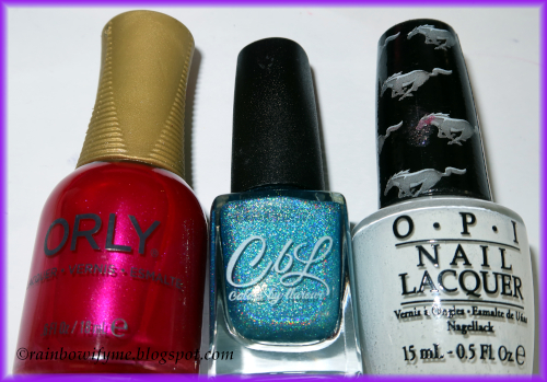 Orly: Total Diva revisited, Colors by Llarowe: Turq'd, OPI: Angel With A Leadfoot
