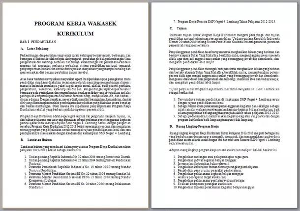 Contoh Program Kerja Wakasek Kurikulum
