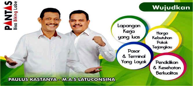 """Slogan """"Bisa Biking Labe"""" dari pasangan calon Wali Kota Paulus Kastanya dan calon Wakil Wali Kota Ambon, Muhamad Armin Syarif Latuconsina dengan jargonnya PANTAS ini lagi menjadi trending topik di kalangan warga Kota Ambon saat ini."""