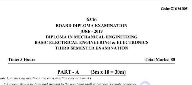 305 Basic Electrical Engineering & Electronics old question papers sbtet diploma june 2019