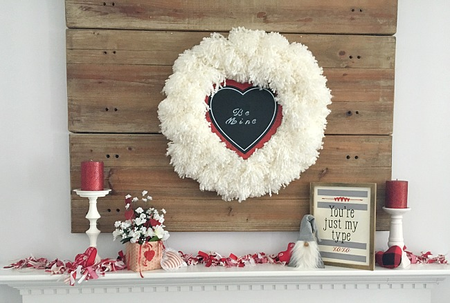 Vintage Paint and more... a Valentine mantel done with Dollar tree items and Chalk Couture chalk paste sign