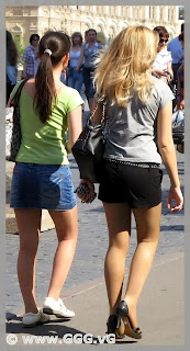Girls in mini skirt on the street