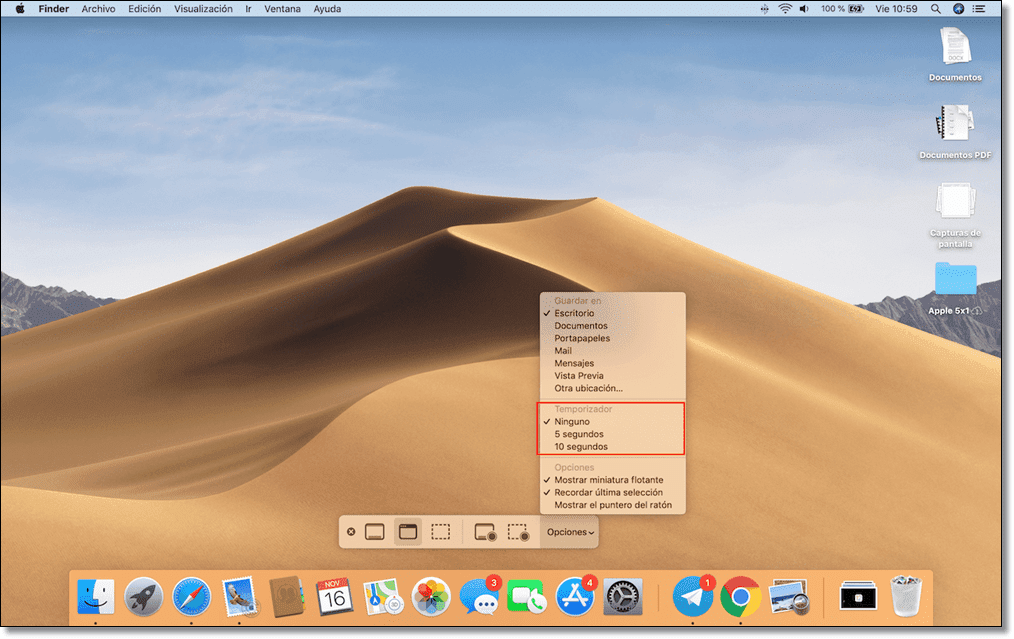 Use a timer when taking screenshots on Mac