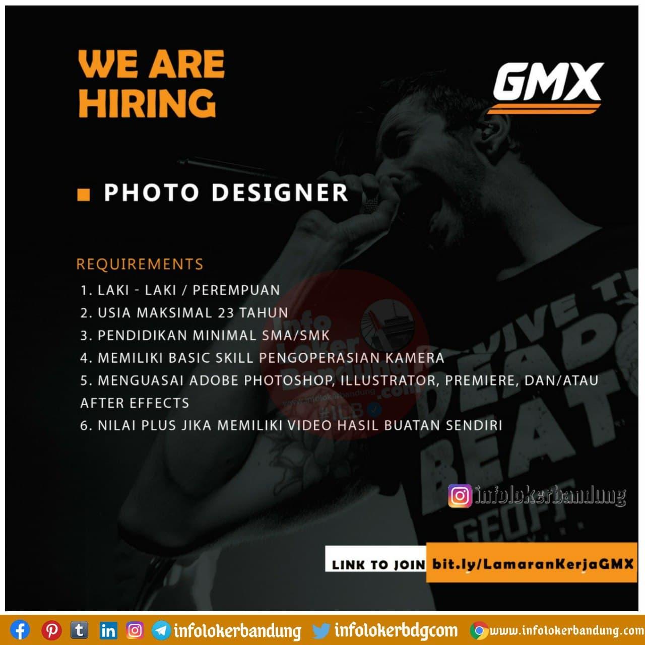 Lowongan Kerja Photo Designer GMX Bandung Januari 2021