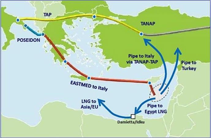 O αγωγός East Med απειλεί το δόγμα Ελλάδας - Κύπρου