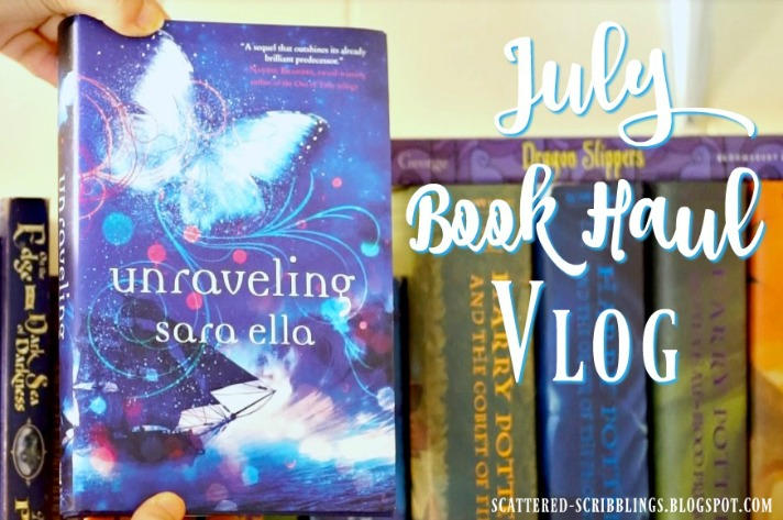 July Book Haul Vlog - Post Header Image (Unraveling by Sara Ella in front of a bookshelf)