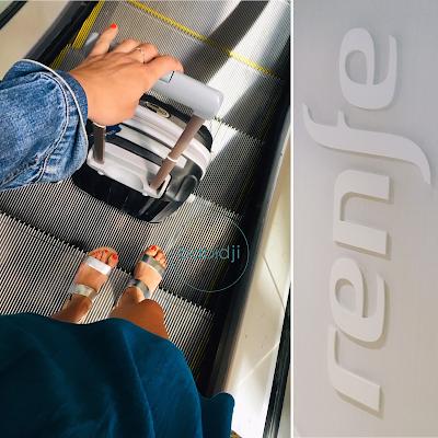 Babidji dans un escalator de la gare de Perpignan avec sa valise