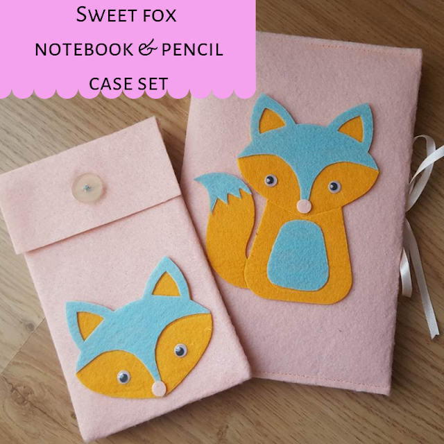 Sweet fox notebook & pencil case set
