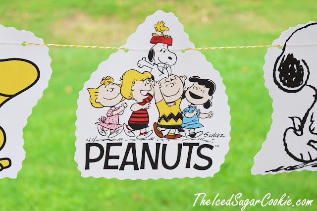 DIY Peanuts Gang Birthday Party Flag Hanging Banner DIY Ideas-Snoopy, Woodstock, Charlie Brown, Sally, Lucy, Schroder The Iced Sugar Cookie