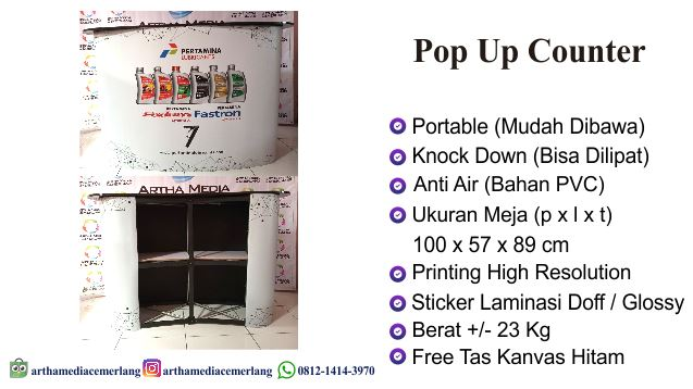 Meja Promosi Pop Up Counter Portable
