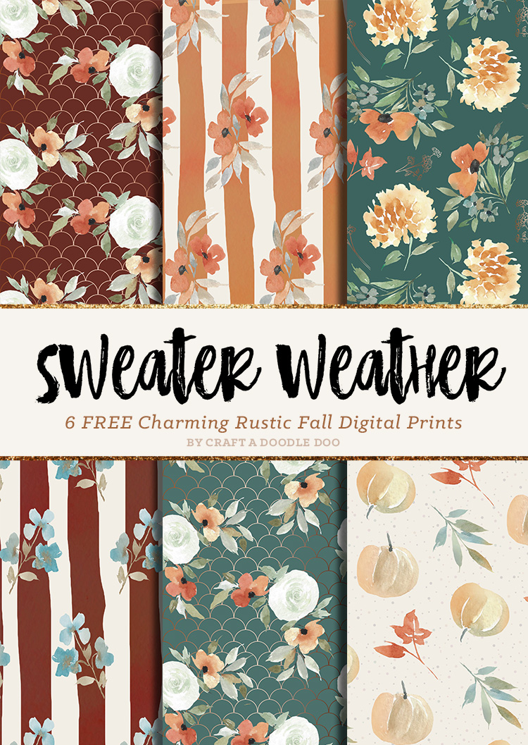 Free Fall Printable Paper Packs | Autumn themed Watercolor Backgrounds and Patterns by Craft A Doodle Doo #scrapbookingfreebie #scrapbookingpaperset