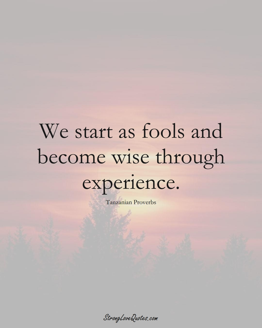 We start as fools and become wise through experience. (Tanzanian Sayings);  #AfricanSayings