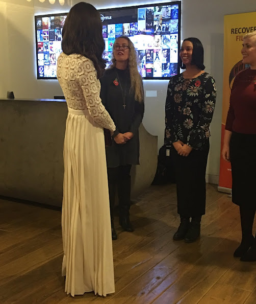 Kate Middleton wore Self-Portrait pleated crochet floral maxi dress at Recovery Street Film Festival
