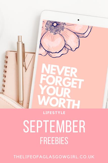 Pinterest image for September freebies blog post graphic on Thelifeofaglasgowgirl.co.uk
