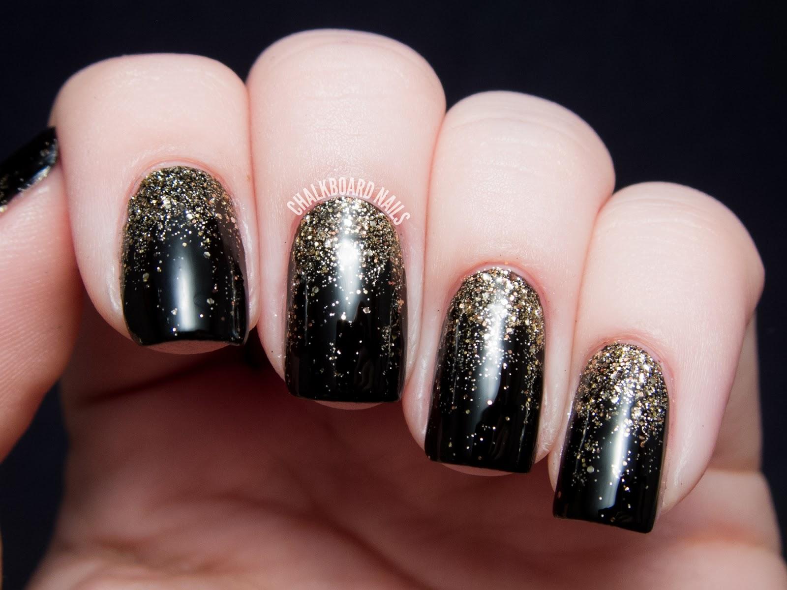 Party Perfect Black And Gold Nail Art Ideas Chalkboard Nails Nail Art Blog