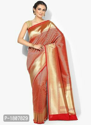 Red Jacquard Banarasi Silk Saree with Blouse piece  Rs:3399/-