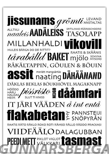 Dialektposter dialekttavla dialekt österbotten gunnarsberga