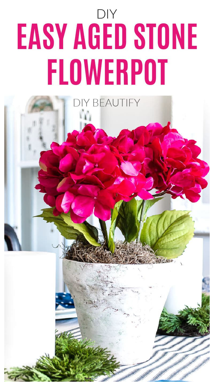 stone flowerpot with pink hydrangea