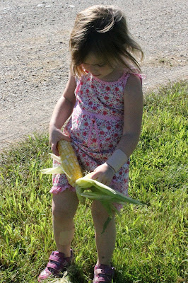 Husking Sweet Corn - Throw a Sweet Corn Party with Easy Freezer Sweet Corn recipe #FarmersMarketWeek