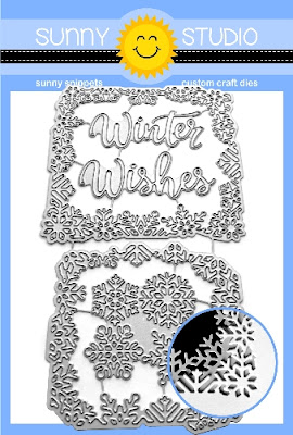 Sunny Studio Stamps: Layered Snowflake Frame Metal Cutting Dies (with Winter Wishes Script Phrase word dies)
