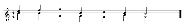 Partitura con dos voces. La superior tiene las plicas hacia arriba y la inferior tiene las plicas hacia abajo