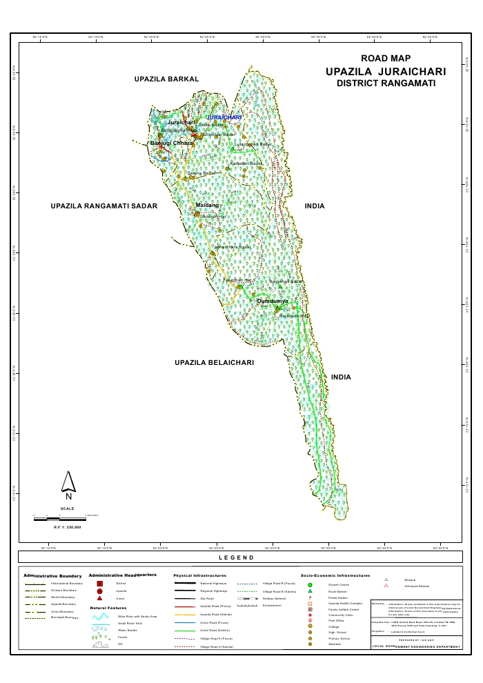 Juraichari Upazila Road Map Rangamati District Bangladesh