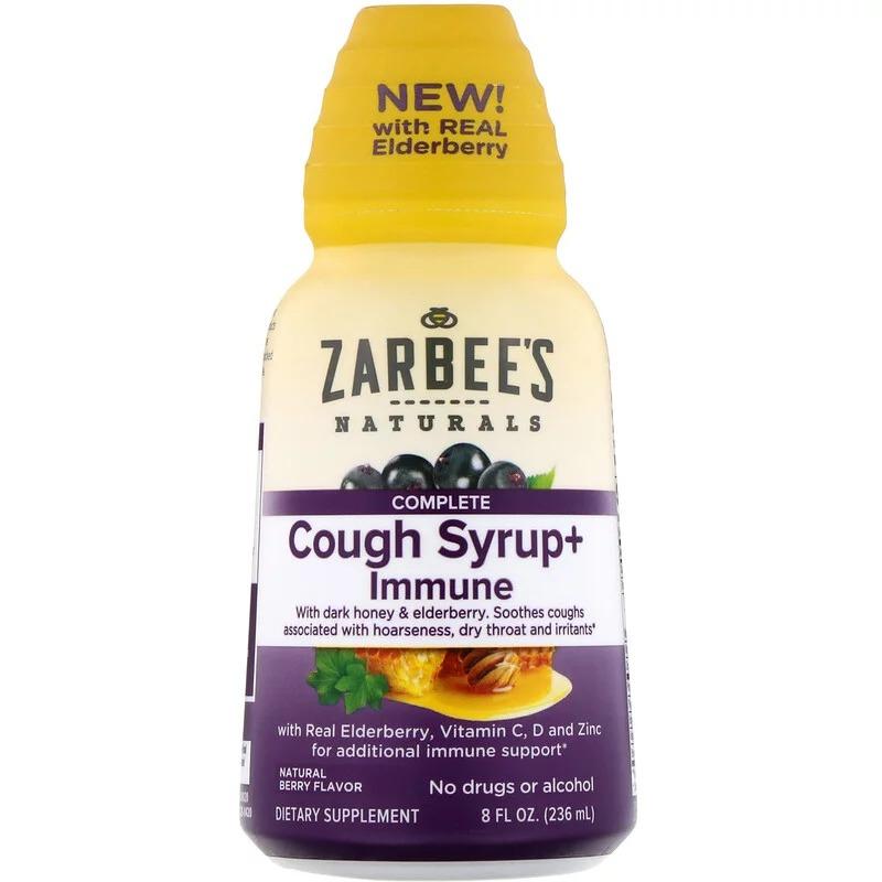 Zarbee's, Комплексная добавка, сироп от кашля и средство для укрепления иммунитета, натуральный ягодный вкус, 236 мл