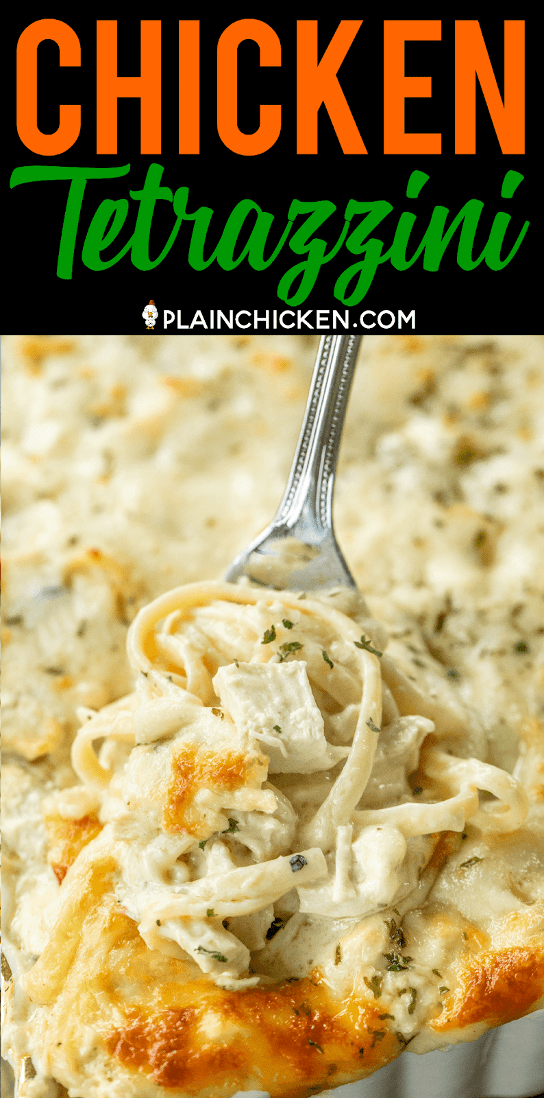 Chicken Tetrazzini - super delicious make ahead casserole! Makes a great freezer meal!! Chicken,linguine, cream of chicken soup, cream of mushroom soup, sour cream, butter, chicken broth, salt, pepper, garlic, parmesan cheese, mozzarella cheese. SO creamy and delicious. Made this for dinner and everyone cleaned their plate! Even our picky eaters. This is definitely going in the dinner rotation! #chicken #casserole #freezermeal #chickendinner