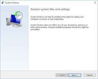 System Restore Windows ke tanggal sebelumnya