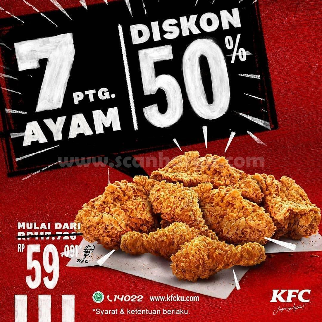 BARU! Promo KFC 7 POTONG AYAM DISKON 50%
