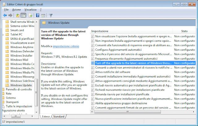 Editor Criteri di gruppo locali impostazione per disattivare aggiornamento a Windows 10
